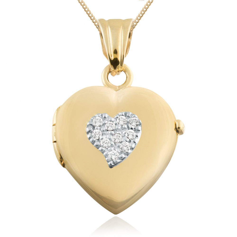 Heart Locket, CZ Pave Set Heart, 9ct Gold, Personalised / Engraved