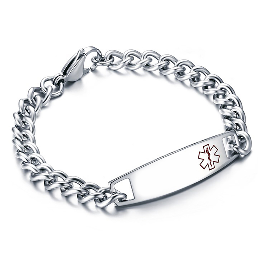 Mens Medical Alert Bracelet, Personalised, Stainless Steel, 8.25 inches