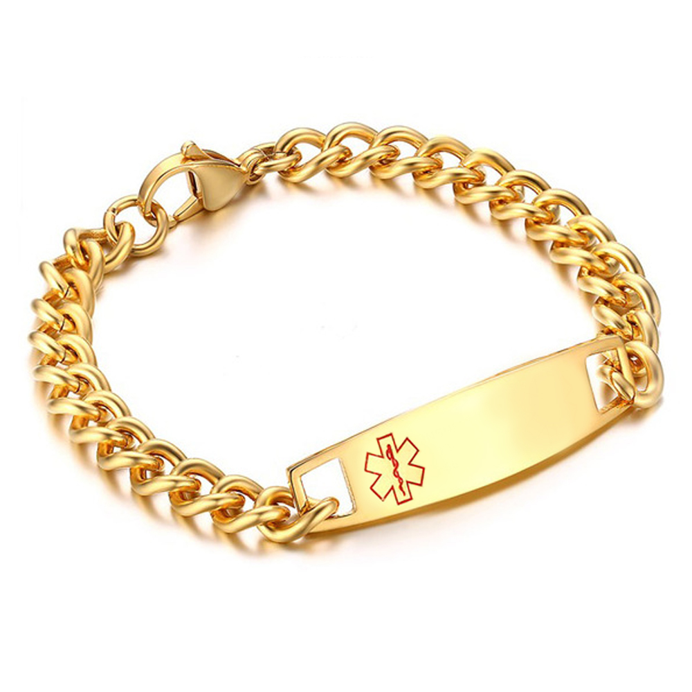 Mens Medical Alert Bracelet, Personalised, Gold Colour Stainless Steel, 8.25 inches