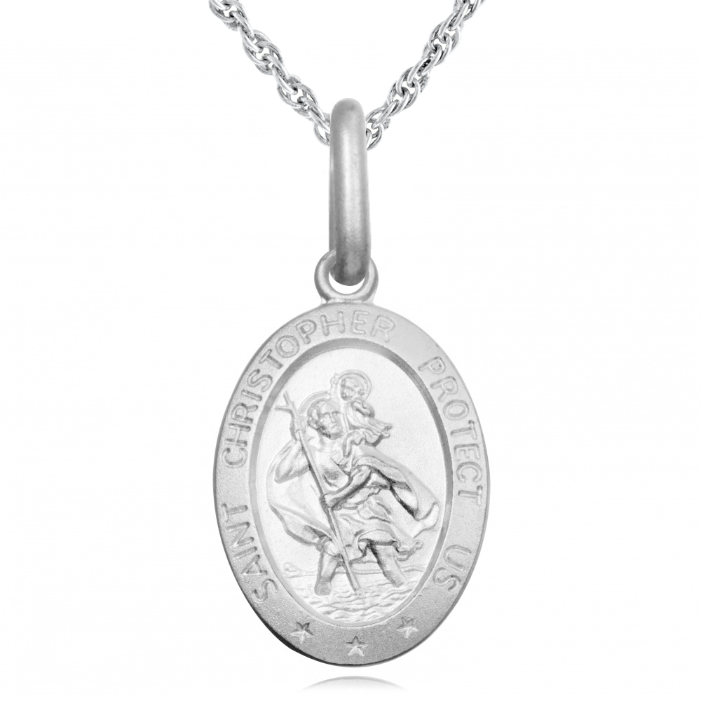 Childs Tiny St Christopher Necklace, Personalised Sterling Silver