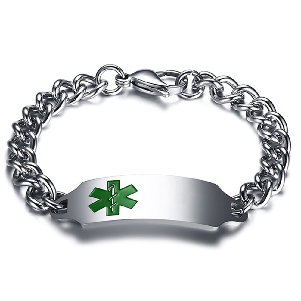 Mens Medical Alert Bracelet, with Personalisation, Green EMS