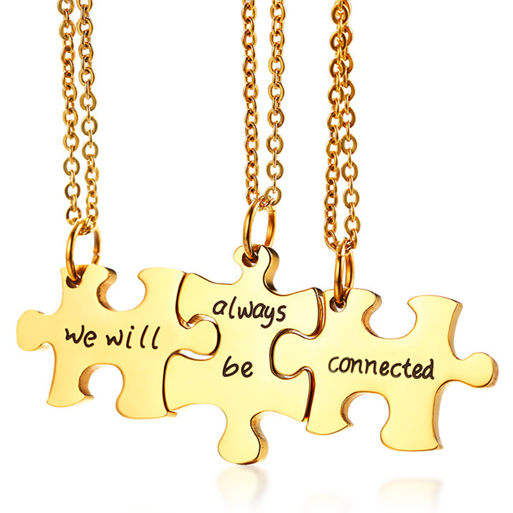We Will Always be Connected Jigsaw Sharing Necklace, Personalised, 3 People