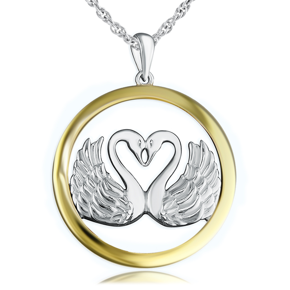 Swans Heart Necklace, Sterling Silver & Yellow Gold Vermeil