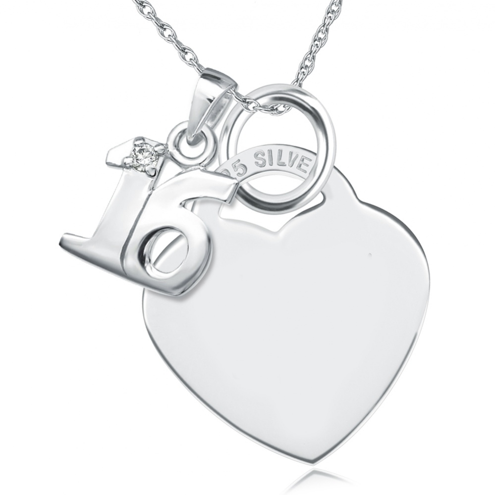 16th Birthday Sterling Silver Heart with Single Cubic Zirconia 16 Necklace (can be personalised)