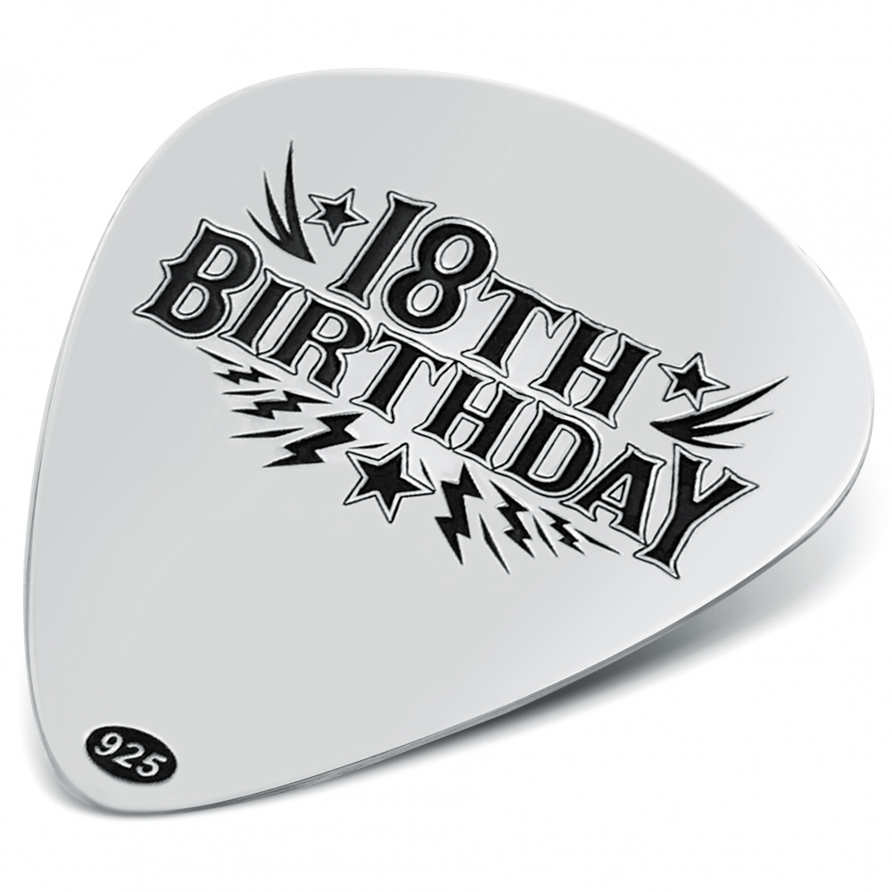 18th Birthday Plectrum, Personalised, Sterling Silver