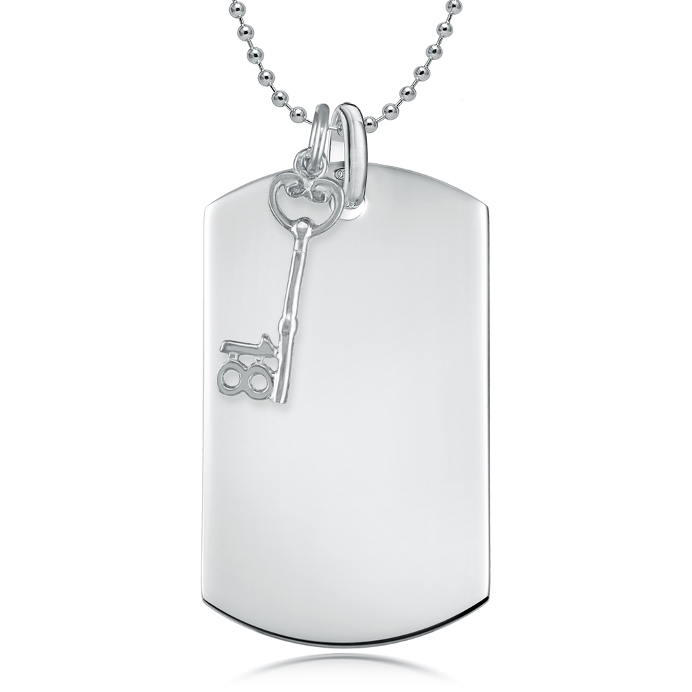 18th Birthday Dog Tag with Key, Personalised, Sterling Silver