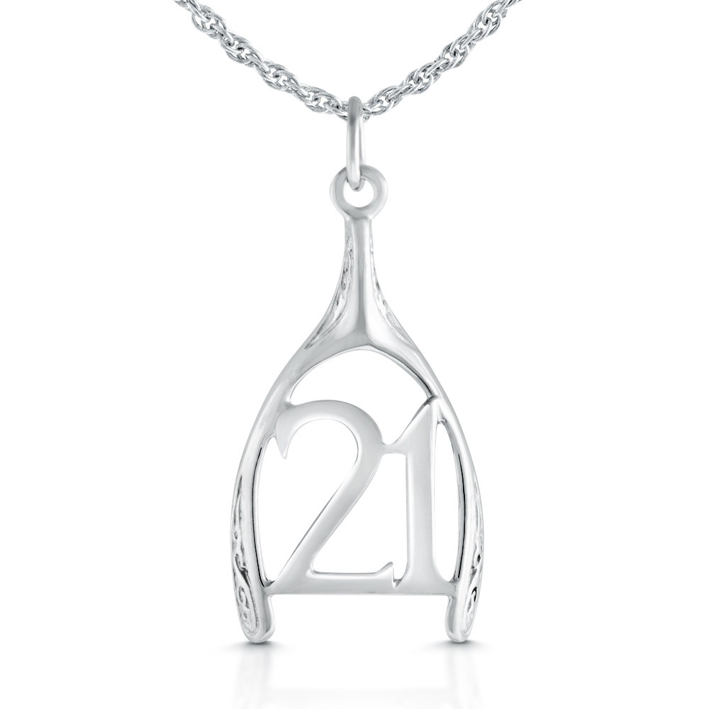 21st Birthday Wishbone Necklace, Sterling Silver