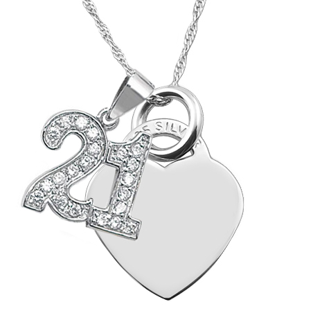 21st Birthday Necklace, Personalised, Heart, CZ & Sterling Silver