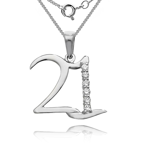 21st Birthday 925 Sterling Silver Necklace
