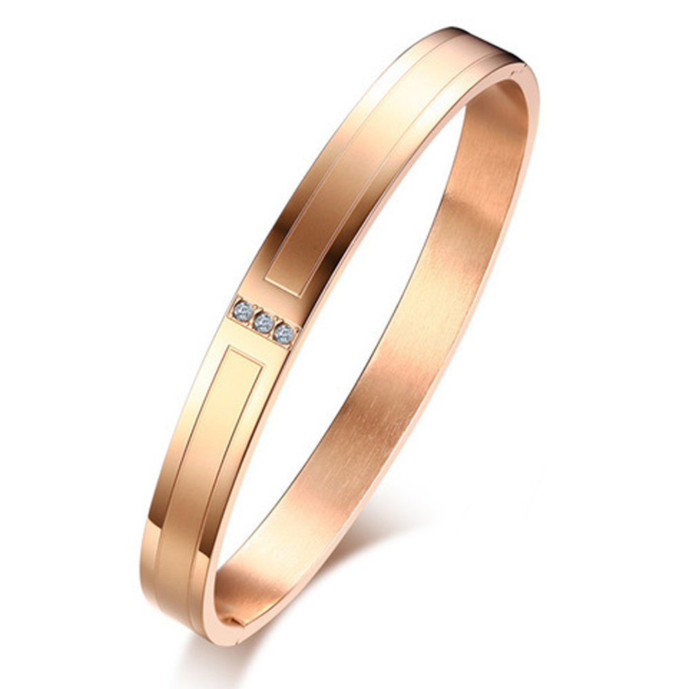 Womens Rose Gold 3 Stone Bangle, with Personalised Engraving