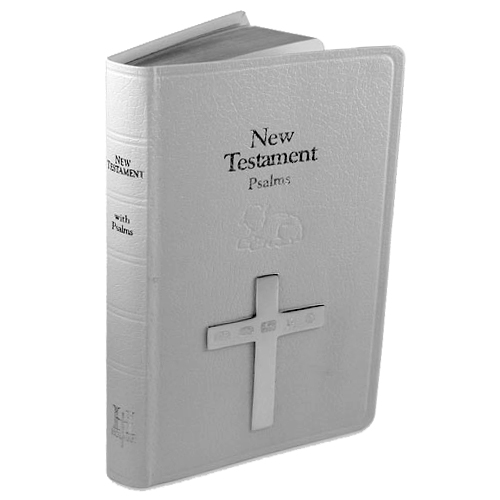 White Leather Holy Bible with Hallmarked Sterling Silver Cross