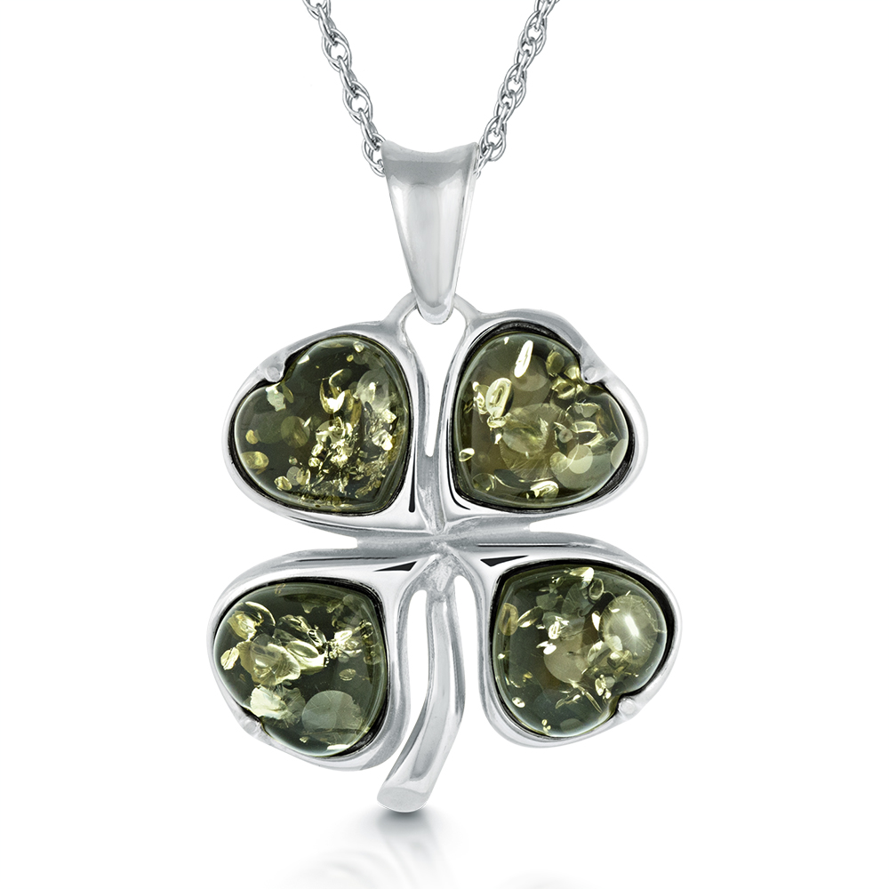 her charm of four the designs plain steel lucky irish symbol women product tarnish pendant for simple silver clover stainless feminine necklace leaf shiny loralyn womens luck non