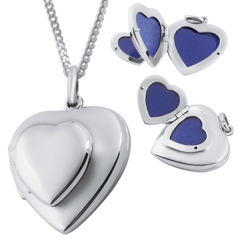 Double Heart Locket, 4 Photo Family Album, 925 Sterling Silver (can be personalised)