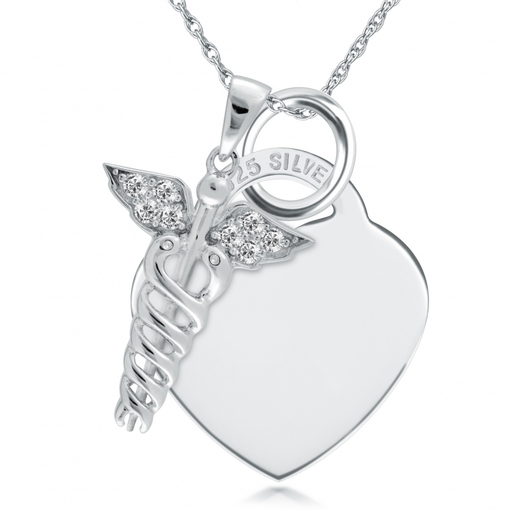 Medical Alert SOS Sterling Silver Heart Necklace (can be personalised) 1b1bf89b68bce
