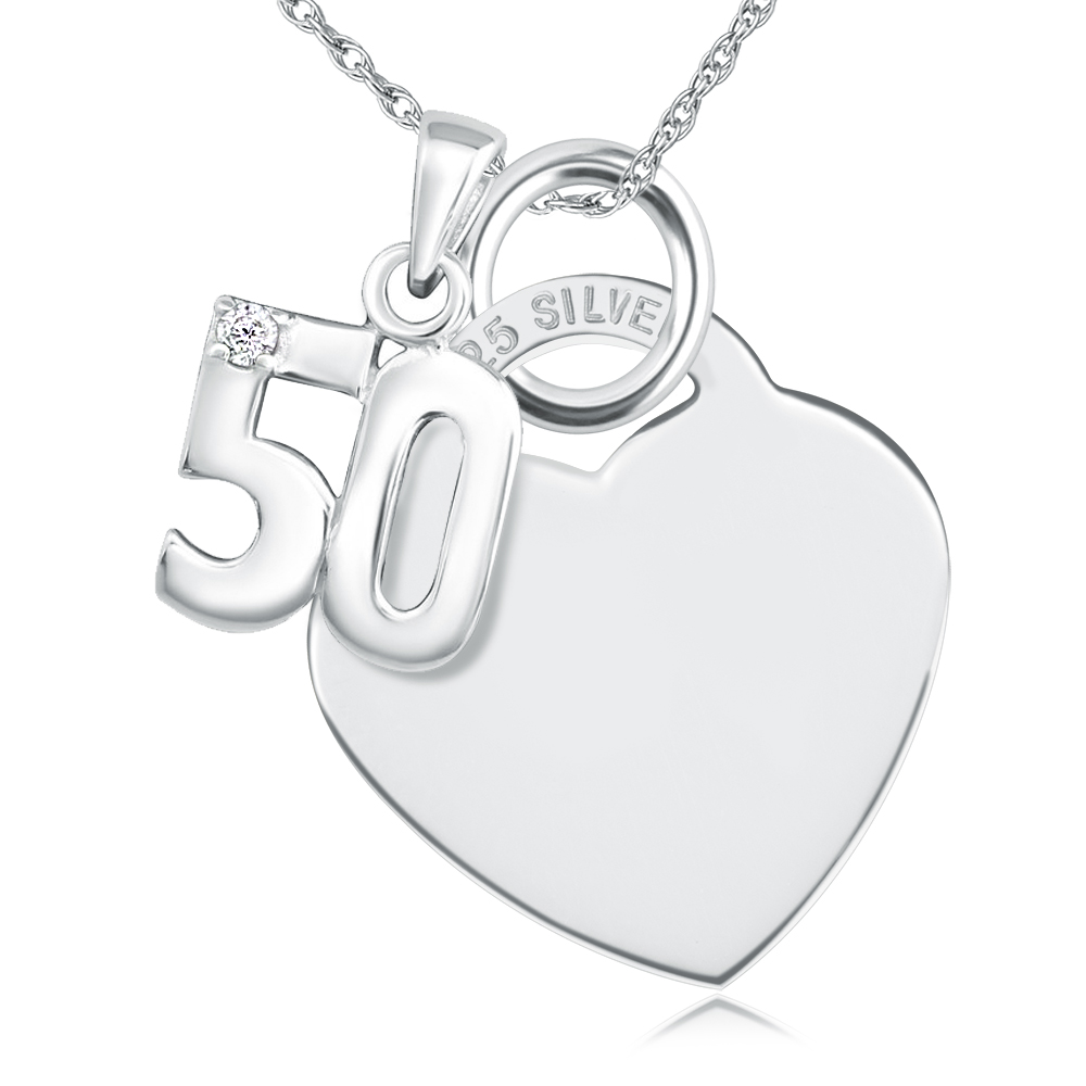 50th Birthday Sterling Silver Heart with Single Cubic Zirconia 50 Necklace (can be personalised)