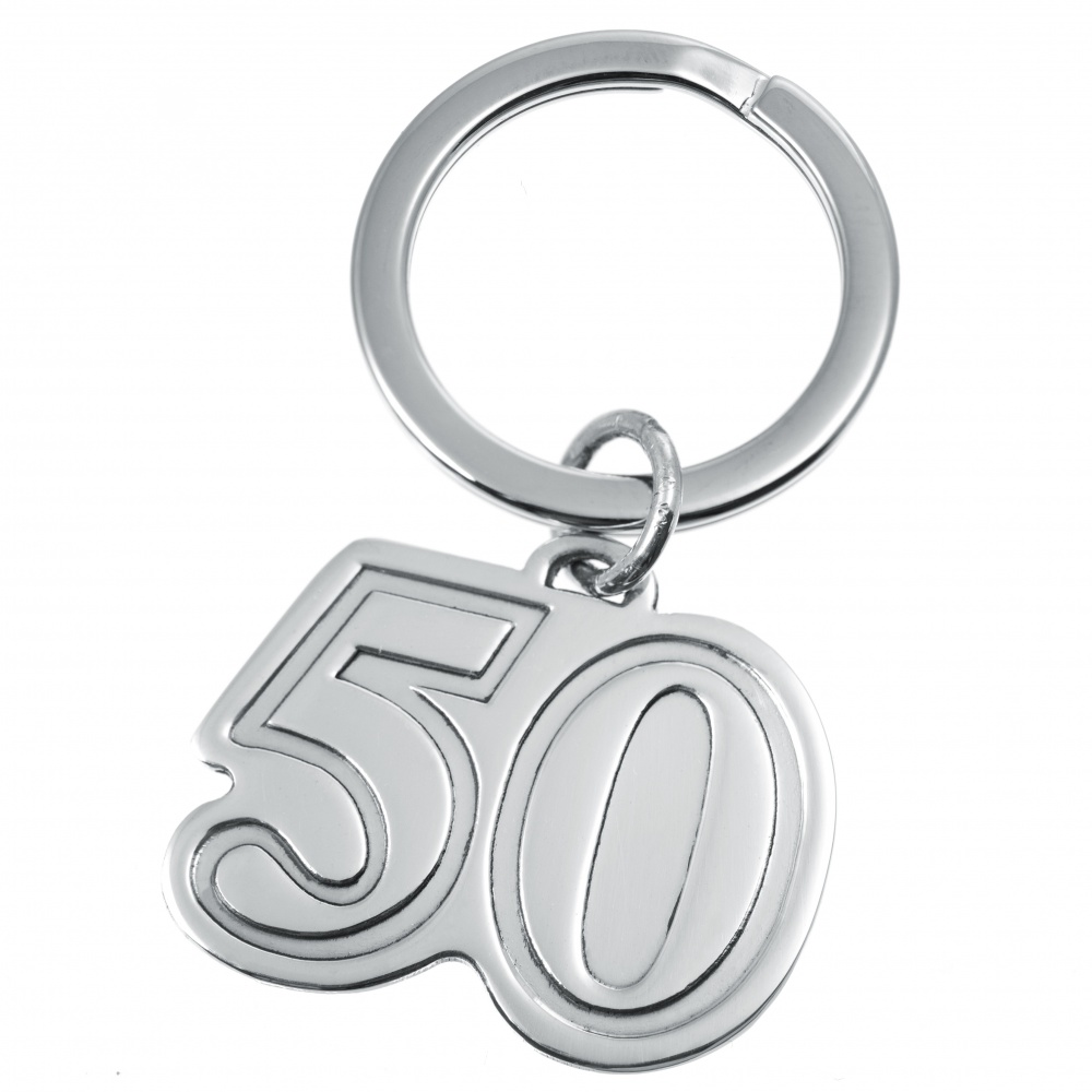 50th Birthday Keyring, Personalised, Sterling Silver, Number 50