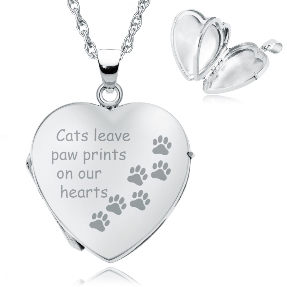 Cats Leave Paw Prints on our Hearts Locket, Personalised, 4 Photo, Sterling Silver