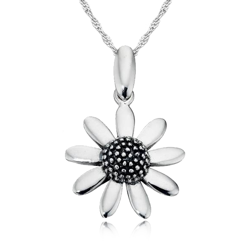 8 Petal Flower Necklace, 925 Sterling Silver