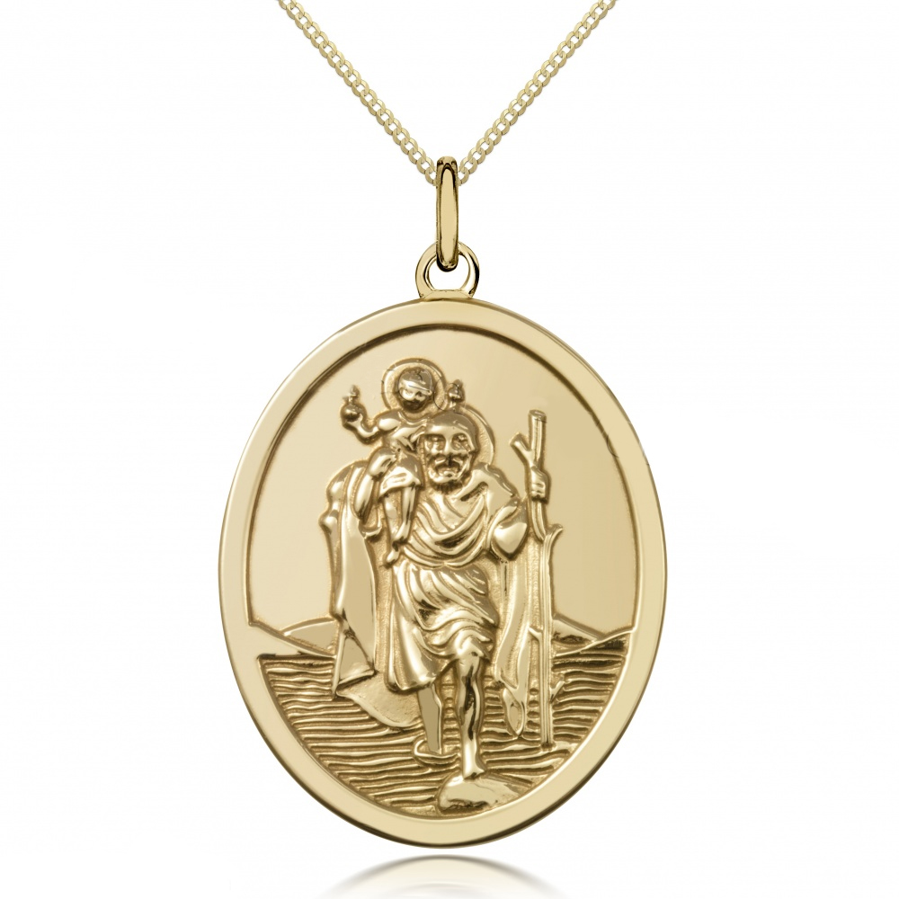 St Christopher Oval Pendant 9ct Yellow Gold (can be personalised)