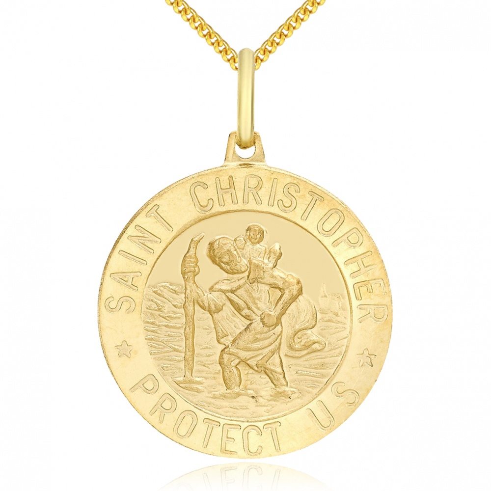 St Christopher Necklace, Personalised, 9ct Gold, Round