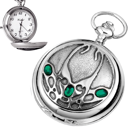 Archibald Knox Style Pewter Quartz Pocket Watch (can be personalised)