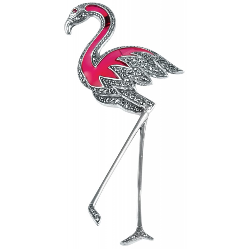 Pink Flamingo Brooch, Enamel & Sterling Silver