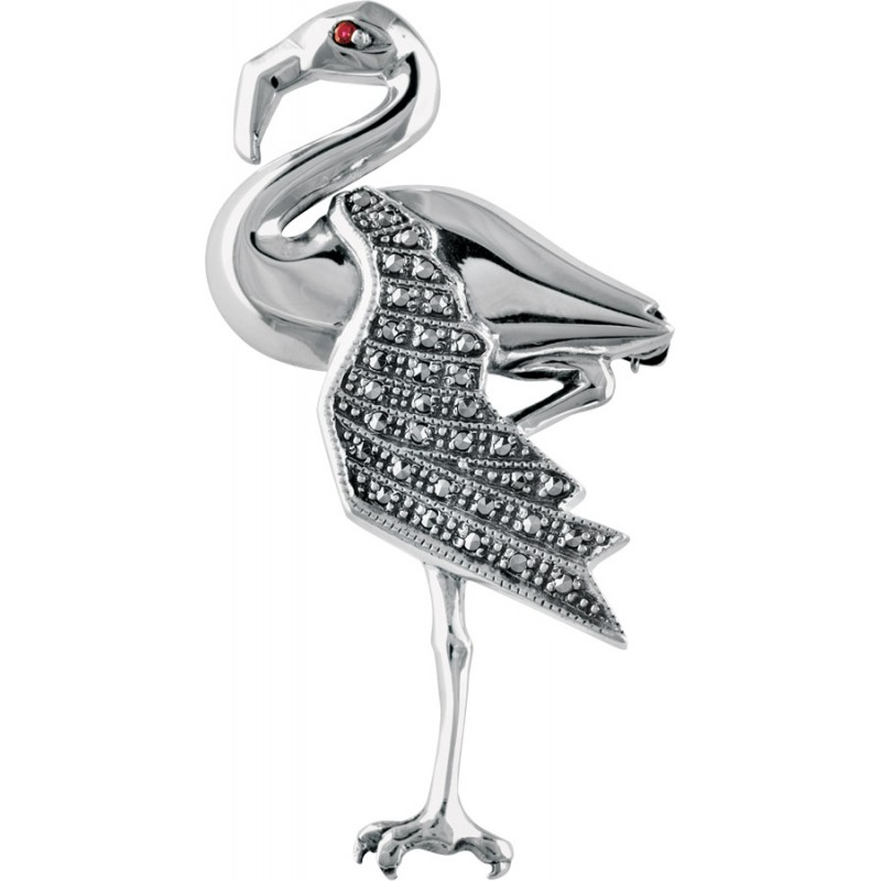 Flamingo Brooch, Sterling Silver & Red Crystal