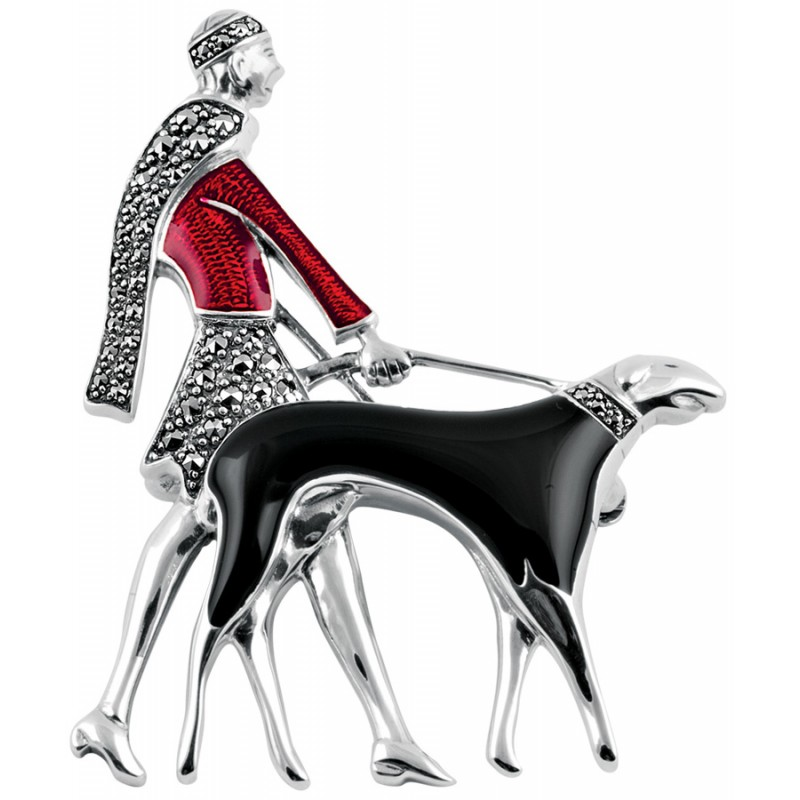 Lady Walking A Dog Art Deco Brooch, Enamel & Sterling Silver