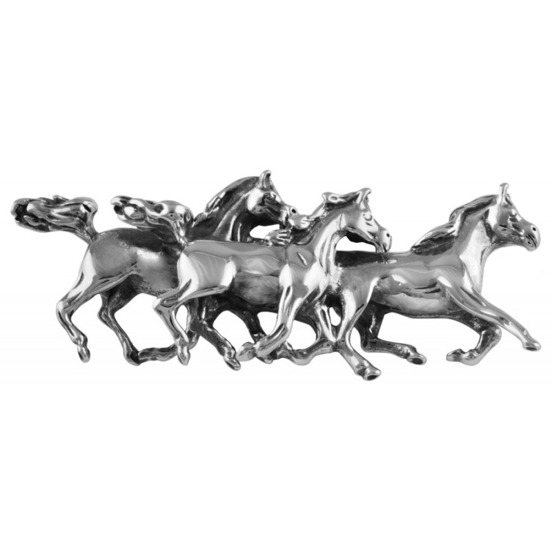 Galloping Horses Brooch, Sterling Silver