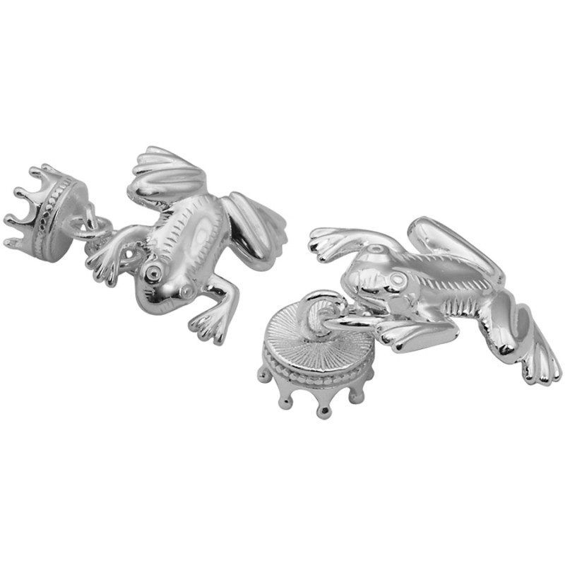 Frog Prince Cufflinks, Sterling Silver (Engraving Available)