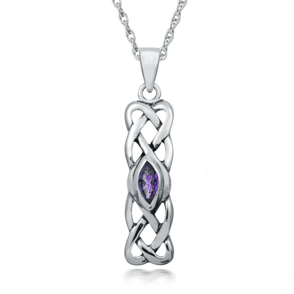 February Birthstone Celtic Knot Sterling Silver Necklace