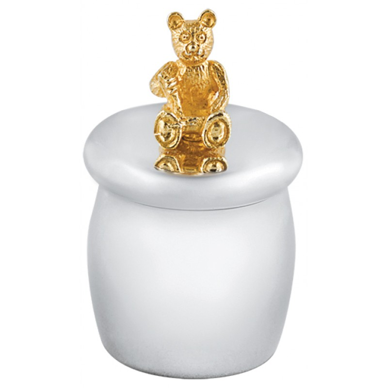 First Tooth Box, Gold Plated Teddy Bear, Barrel (Engraving Available)