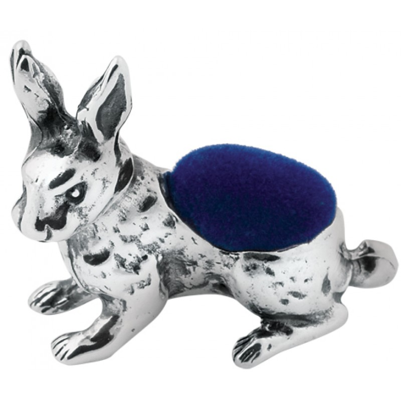 Rabbit Pin Cushion, Hallmarked Sterling Silver