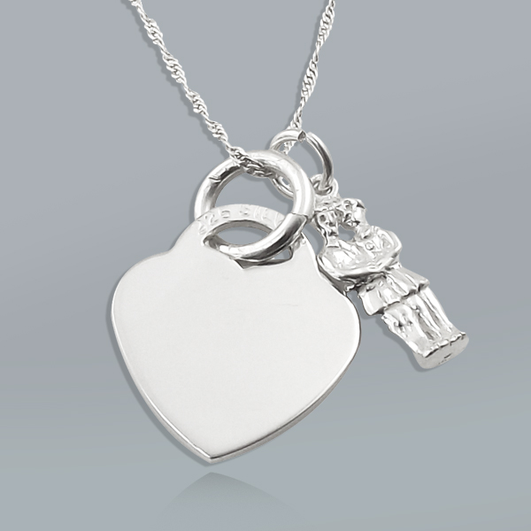 Zodiac Gemini Star Sign & Heart Sterling Silver Necklace (can be personalised)