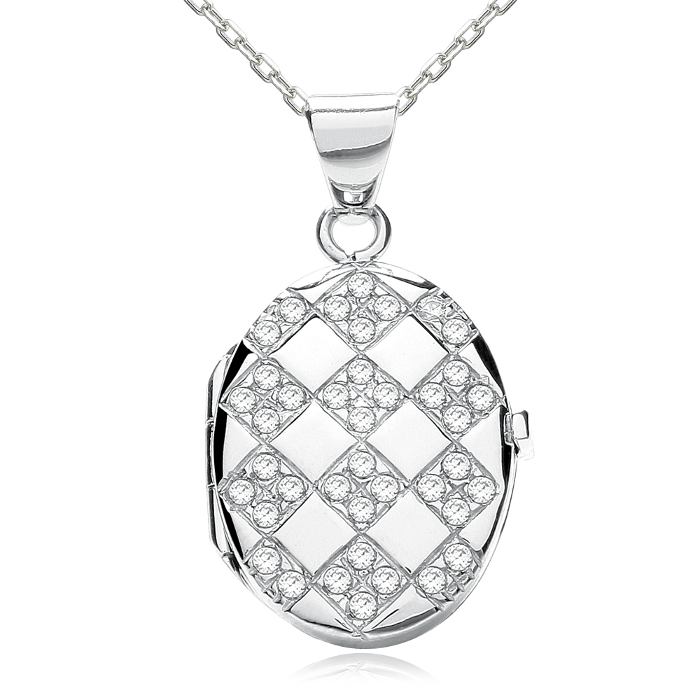 Chequered Board CZ Oval Locket, Personalised, J*Jaz 925 Sterling Silver