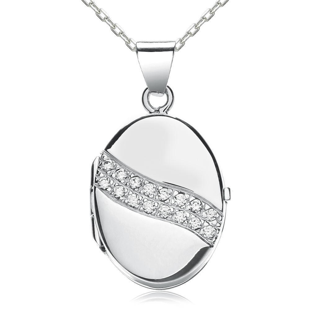 2 Row CZ Wave Oval Locket, Personalised, J*Jaz 925 Sterling Silver