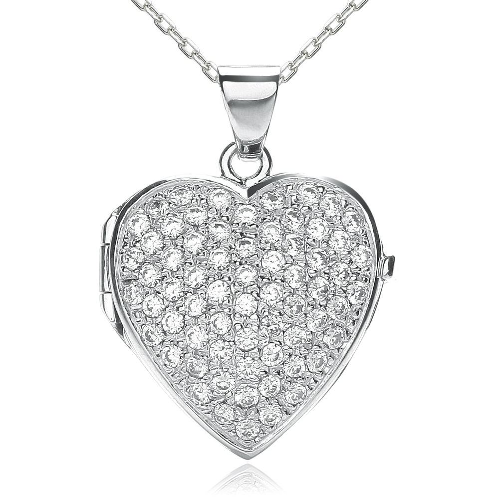 Pave-Set Front Heart Locket, Personalised, J*Jaz 925 Sterling Silver