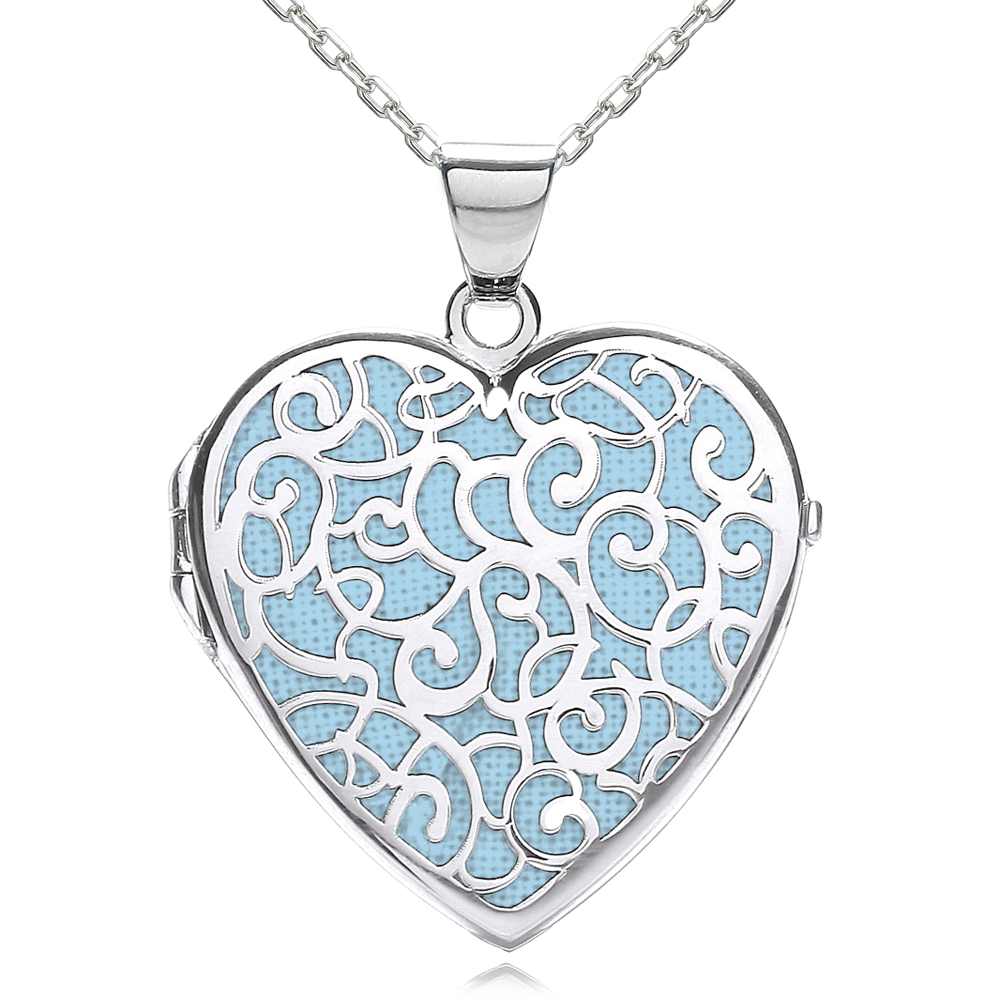 Light Blue Fancy Heart Locket, Personalised, J*Jaz 925 Sterling Silver