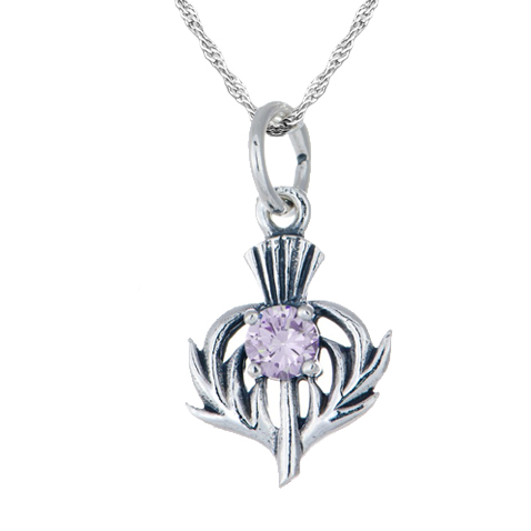 June Birthstone Scottish Thistle Sterling Silver Necklace