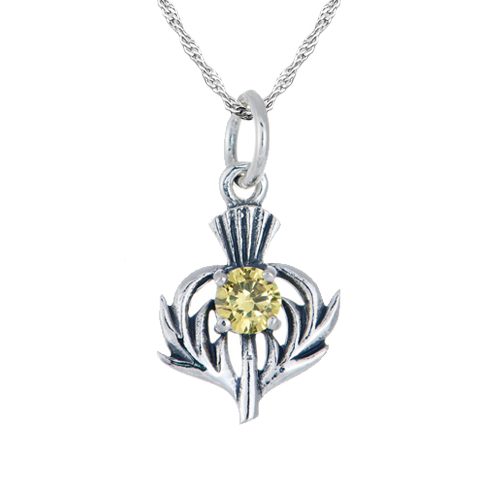 November Birthstone Scottish Thistle Sterling Silver Necklace