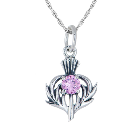 October Birthstone Scottish Thistle Sterling Silver Necklace