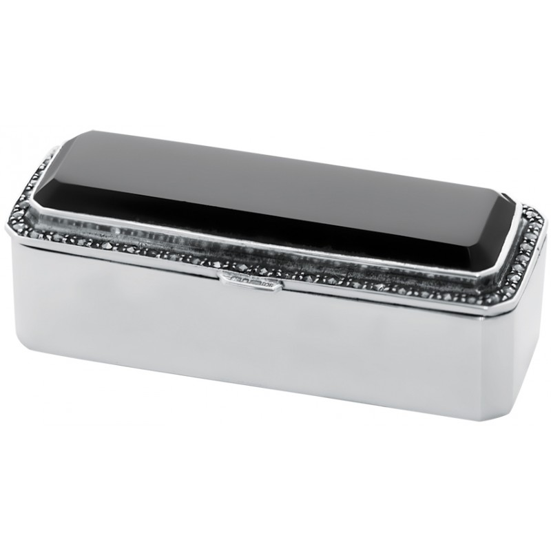 Oblong Pill Box, Onyx, Marcasite & Hallmarked Sterling Silver