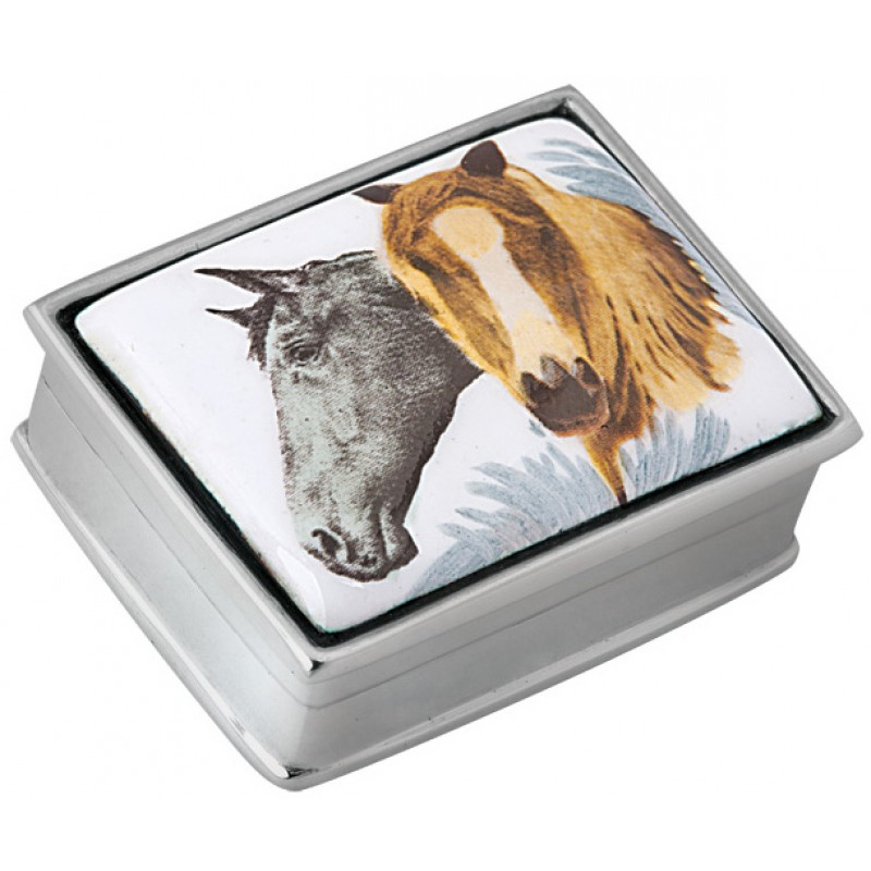 Two Horses Picture Pill Box, Hallmarked Sterling Silver