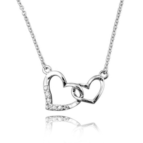 Interlinked Love Hearts Necklace, 925 Sterling Silver with Cubic Zirconia