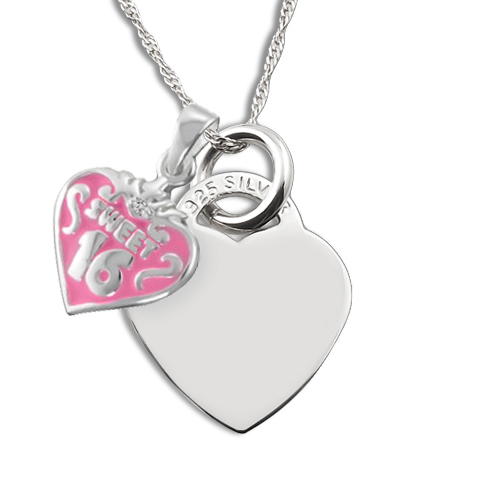 Sweet 16 Necklace, Personalised, Double Heart, Sterling Silver