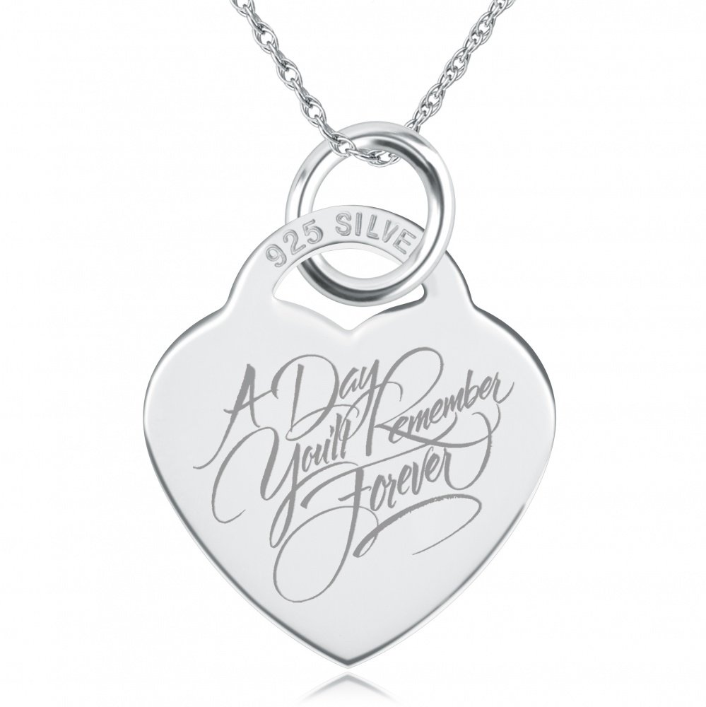 A Day You'll Remember Forever Heart Shaped Sterling Silver Necklace (can be personalised)