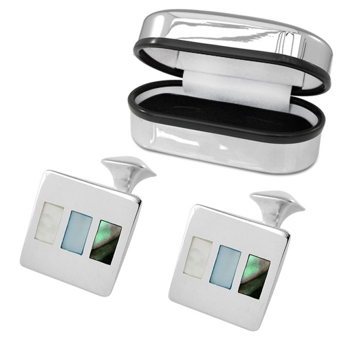 Abalone Shell & Mother of Pearl Cufflinks, Personalised, Sterling Silver