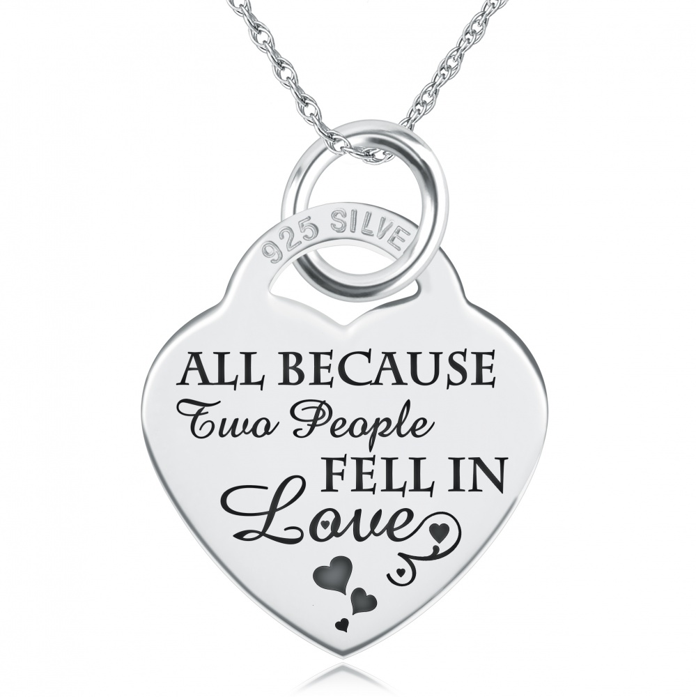 All Because Two People Fell in Love Necklace, Personalised, 925 Sterling Silver