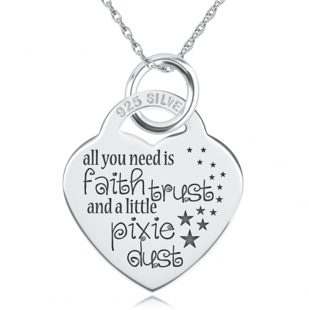 All You Need Is Faith Trust & A Little Pixie Dust Necklace, Personalised