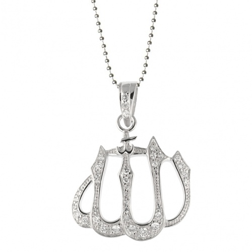 Large allah necklace 925 sterling silver cubic zirconia large allah necklace 925 sterling silver cubic zirconia sterling silver aloadofball Images